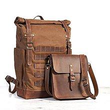 Batohy - Svetlohnedý batoh s odopínateľnou kabelkou. Ruksak z voskovaného plátna a kože. - 10037808_