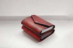 Papiernictvo - Kožený zápisník, karisblok A6 hnedý, cherry - 10037518_