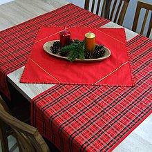 Úžitkový textil - Tradičné vianočné káro s červenou - šerpa naprieč stola 115x40 - 10036047_