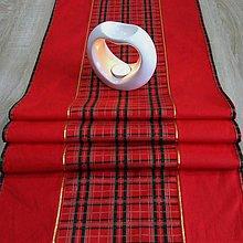 Úžitkový textil - Tradičné vianočné káro s červenou(2) - stredový obrus - 10036371_