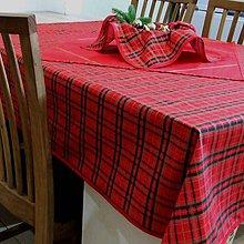 Úžitkový textil - Tradičné vianočné káro s červenou - obrus na celý stôl 140x120 - 10038497_