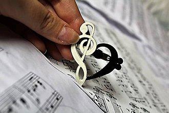 Iné doplnky - S láskou k hudbe - odznak/brošňa (Čierno-biela) - 10039157_