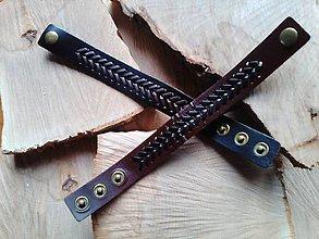 Šperky - náramok koža čierny Véčko - 10039567_