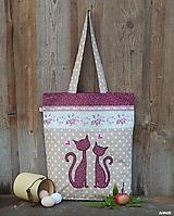 - Nákupná taška - bordové mačičky - 10038304_