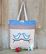- Nákupná taška - modré vtáčiky - 10038376_
