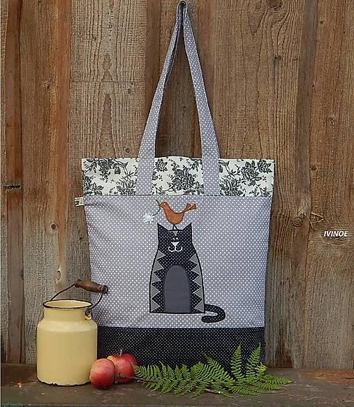 Nákupná taška - tmavá mačička