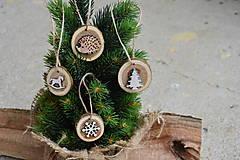 - Drevené ozdoby na stromček- ježko, strom,koník, vločka - sada 4ks  - 10037426_