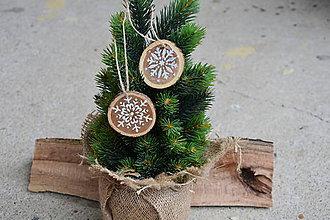 Dekorácie - Ozdoby na stromček č. 5 - ručne maľovaná vločky 2 kusy - 10039303_
