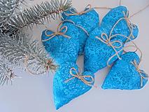 Dekorácie - Vianočné ozdoby-tyrkysové srdiečka.... (Tyrkysová) - 10037687_