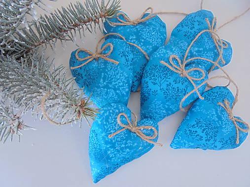 Vianočné ozdoby-tyrkysové srdiečka.... (Tyrkysová)