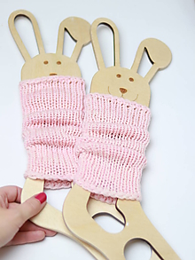 Detské doplnky - Pletené štucne merino - PINK - hrubé - kratšie (20cm) - 10040353_