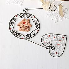 Dekorácie - vianočná dekorácia s domčekom a srdiečkom (bez mašličky) - 10040799_