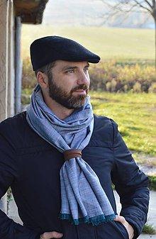 Doplnky - Pánsky šál s koženým remienkom - 10040882_
