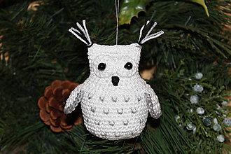 Dekorácie - Snežná sova ako vianočná ozdoba - 10042842_