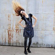 Šaty - áčková manšestrová šatovka v odstínu džínoviny - 36,38,40,42 - 10043591_