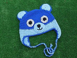 Detské čiapky - čiapka  modrý medvedík - 10043602_
