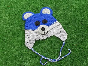 Detské čiapky - čiapka medvedík - šedomodrá - 10043620_