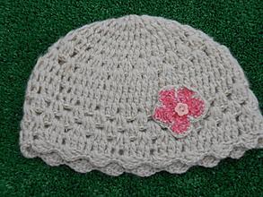 Detské čiapky - čiapka béžová s kvetinkou - 10043679_