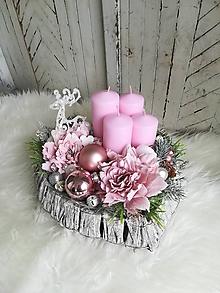 Dekorácie - Vintage ružová adventná dekorácia s jeleňom - 10040988_