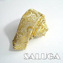 Doplnky - Zlatá pánska kravata - luxusná - brokátová - svadobná - 10042190_