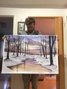 Obrazy - Akvarelový Obraz - Zimná krajina - 10041598_