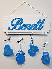 Dekorácie - Meno na tabuľke s údajmi o narodení Royal blue - 10042906_