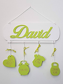 Dekorácie - Drevená tabuľka s menom a údajmi o narodení Green - 10042912_