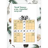 Grafika - Vianočná krížovková pohľadnica - darček s bielou stuhou - 10043734_