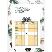 Grafika - Vianočná krížovková pohľadnica - darček s bielou stuhou - 10043733_