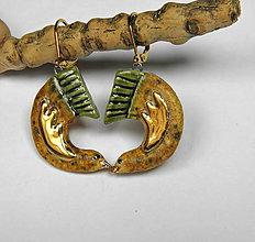 Náušnice - Keramické náušnice - Vtáčiky výrazné zo zlatom - 10042625_