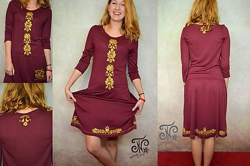 00a4fea081 Zlatý folklór - bordó - dámske šaty   entee - SAShE.sk - Handmade Šaty
