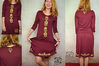 Šaty - Zlatý folklór - bordó - dámske šaty - 10044030_