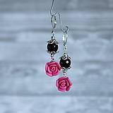 Ružičky polymér - náušnice, ružová, čierna, onyx, striebro