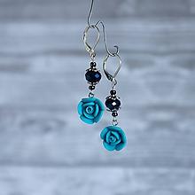 Náušnice - Ružičky polymér - náušnice, modrá, nebíčková, striebro - 10041738_
