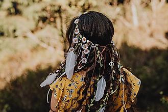 Ozdoby do vlasov - Hippie kvetinový venček pre lesnú vílu - 10040217_