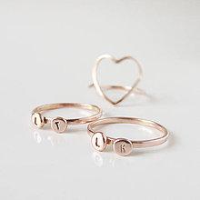 Prstene - Spolu_Sme (m)iní (Dva prstienky + srdiečko, ruž.zlato / ZÁLOHA) - 10042958_