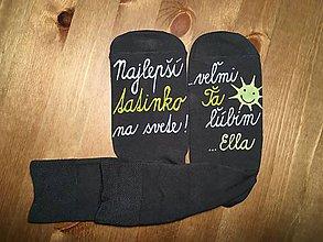 Obuv - Maľované ponožky pre najlepšieho ocka/mamku (S podpisom na šedých) - 10042655_