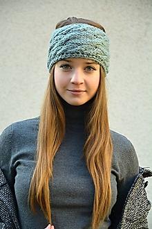 Čiapky - Pletená čelenka s copy - šedá, široká - 10041396_