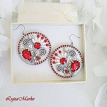 Náušnice - Folk červené kruhy náušnice - 10042747_