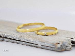 Prstene - 585/1000 zlaté snubné prstene ,svadobné obrúčky s diamantom - 10046168_