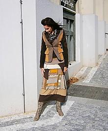Sukne - lel sukňa patchwork hnedasto ťavia - 10046405_
