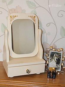 Zrkadlá - Veľké kozmetické zrkadlo - Zlatý ornament, krémové - 10044242_