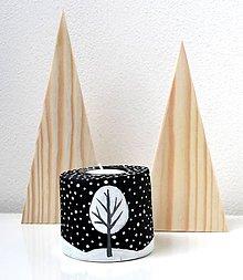 Svietidlá a sviečky - Drevený svietnik-Zimná krajina-nočná - 10044193_