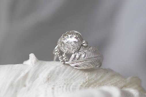 Strieborný anjelský prsteň s krištáľom - S Tebou