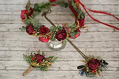 Ozdoby do vlasov - Bohato zdobený kvetinový boho venček Marsala - 10044912_