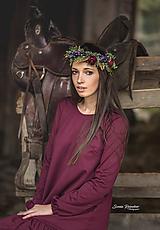 Ozdoby do vlasov - Jesenný kvetinový boho venček s hroznom - 10044966_