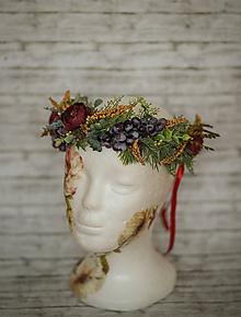 Ozdoby do vlasov - Jesenný kvetinový boho venček s hroznom - 10046222_