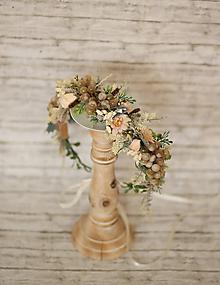 Ozdoby do vlasov - Jesenný kvetinový boho venček s bielym hroznom - 10048645_