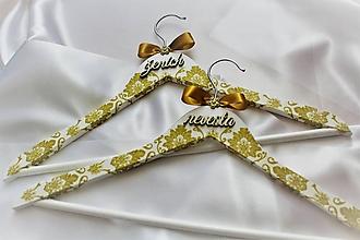 """Nábytok - Svadobné vešiaky set """"zlatý ornament"""" - 10045601_"""
