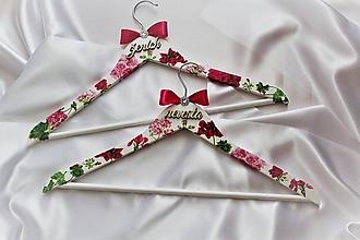 """Nábytok - Svadobné vešiaky set """"ružové hortenzie"""" - 10045631_"""